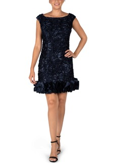 Donna Ricco Ruffle Hem Texture Satin Dress