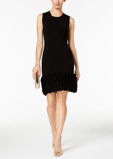 Donna Ricco Ruffled-Hem Sweater Dress
