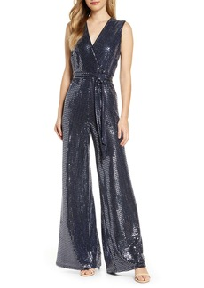 Donna Ricco Sequin Sleeveless Wide Leg Jumpsuit