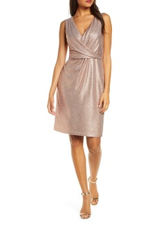 Donna Ricco Sleeveless Metallic V-Neck Sheath Dress