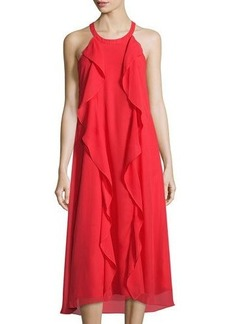 Donna Ricco Sleeveless Ruffle Chiffon Midi Dress