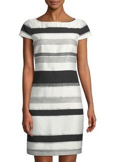 Donna Ricco Striped Cap-Sleeve Sheath Dress
