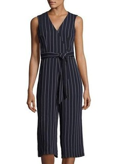 Donna Ricco Striped Sleeveless Belted Culotte Jumpsuit
