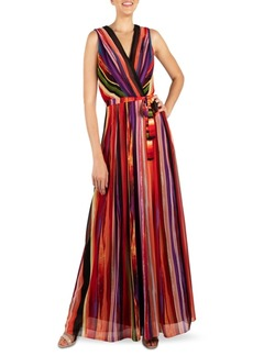 Donna Ricco Striped V-Neck Maxi Dress