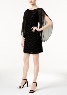 Donna Ricco Velvet Geo-Print Angel-Sleeve Dress
