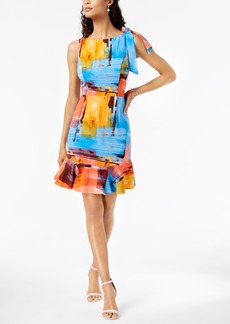 Donna Ricco Watercolor Flounce Dress