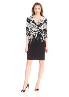 Donna Ricco Women's 3/ Sleeve Floral Printed Jersey Dress