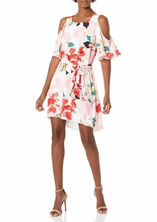 Donna Ricco Women's All Over Floral Printed Belted Elbow Sleeve