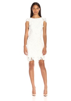 Donna Ricco Women's Cap Sleeve 3D Lace Sheath Dress