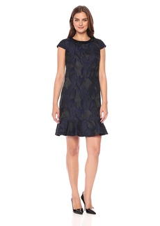 Donna Ricco Women's Cap Sleeve Jacquard Dress