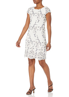 Donna Ricco Women's Cap Sleeve Lace Shift Dress