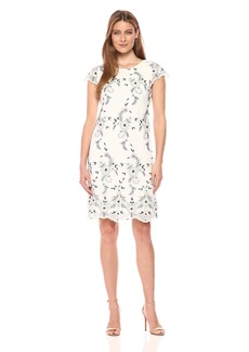 Donna Ricco Women's Cap Sleeve Lace Shift Dress