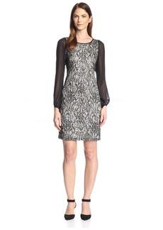 Donna Ricco Women's Chiffon Sleeve Lace Dress