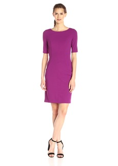 Donna Ricco Women's Elbow-Sleeve Solid Knit Sheath Dress