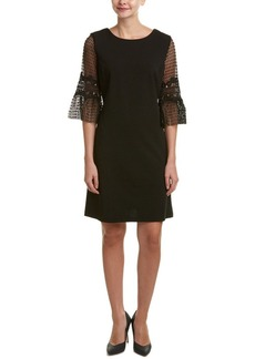 Donna Ricco Women's Elbow Solid Crepe Sheath Dress with Lace Sleeves