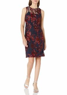 Donna Ricco Women's Embroidered Mesh Sleeveless Dress