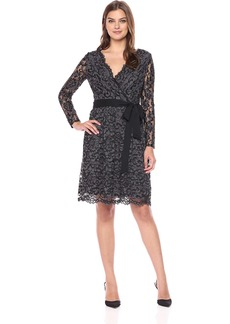 Donna Ricco Women's Lace Wrap Long Sleeve Dress