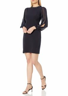 Donna Ricco Women's Long Sleeve Chiffon Sheath Dress with Beaded Necklace