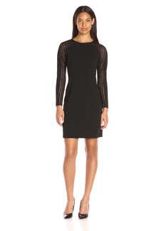 Donna Ricco Women's Long Sleeve Sheath Dress with Lace Detail