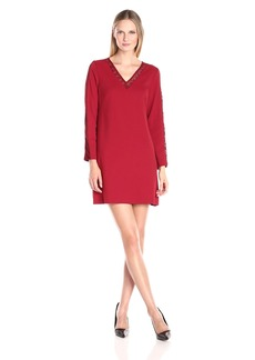 Donna Ricco Women's Long Sleeve Solid Crepe Dress with Lace on Back