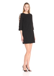 Donna Ricco Women's Long Solid Scuba Crepe Dress with Open Sleeves