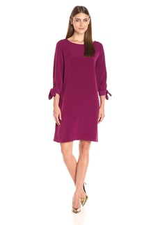 Donna Ricco Women's Long Sleeve Solid Soho Crepe Sheath Dress