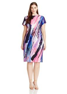Donna Ricco Women's Plus-Size Cap Sleeve Paint Stroke Printed Sheath Dress