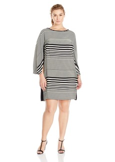 Donna Ricco Women's Plus-Size Long-Sleeve Horizontal-Striped Dress