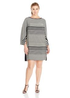 Donna Ricco Women's Plus Size Long-Sleeve Horizontal-Striped Dress  14W