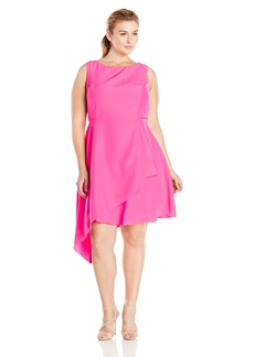 Donna Ricco Women's Plus-Size Sleeveless Boat-Neck Dress with Uneven Hem