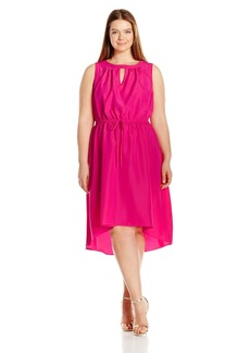 Donna Ricco Women's Plus-Size Sleeveless Dress and Keyhole at Neck