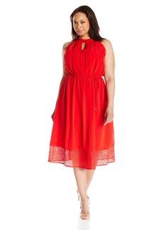 Donna Ricco Women's Plus Size Sleeveless Key Hole Neck Sheath Dress