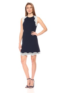 Donna Ricco Women's Plus Size Sleeveless Shift Dress with Detail On Hem and Sleeves