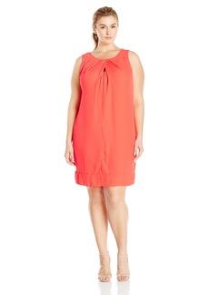 Donna Ricco Women's Plus Size Sleeveless Shift Dress with Keyhole at Neck