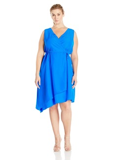Donna Ricco Women's Plus-Size Sleeveless V-Neck Uneven-Hem Dress with Belt