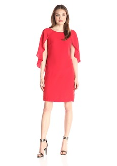 Donna Ricco Women's Red Sheath Dress with Open Sleeves Geo
