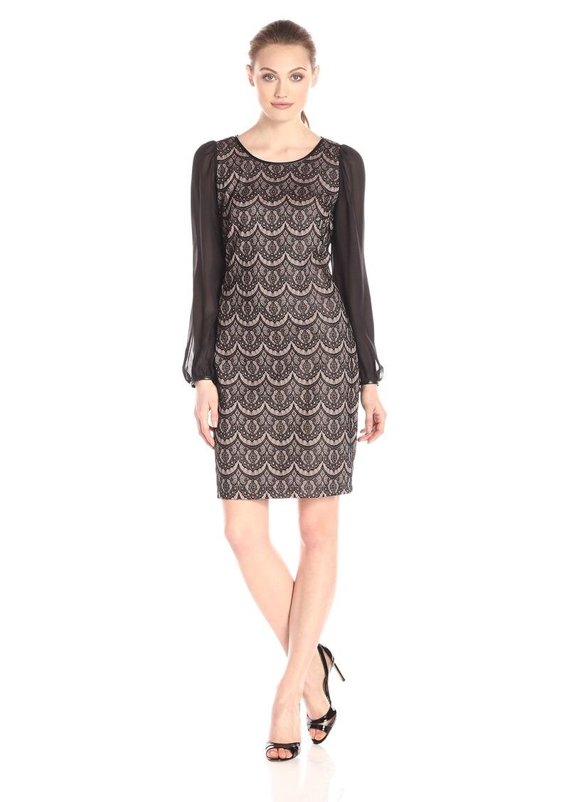 Donna Ricco Women's Sheer Long-Sleeve Lace Sheath Dress