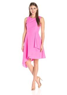 Donna Ricco Women's Short Sleeve Asymmetrical Crepe Dress