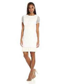 Donna Ricco Women's Short Sleeve Floral Lace Dress