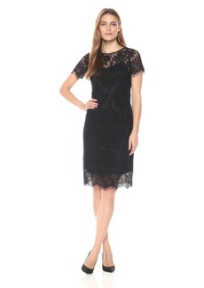 Donna Ricco Women's Short Sleeve Lace Sheath Dress
