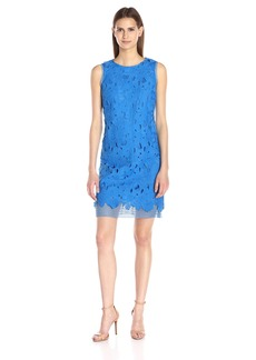 Donna Ricco Women's Short Sleeve Solid Lace Sheath Dress
