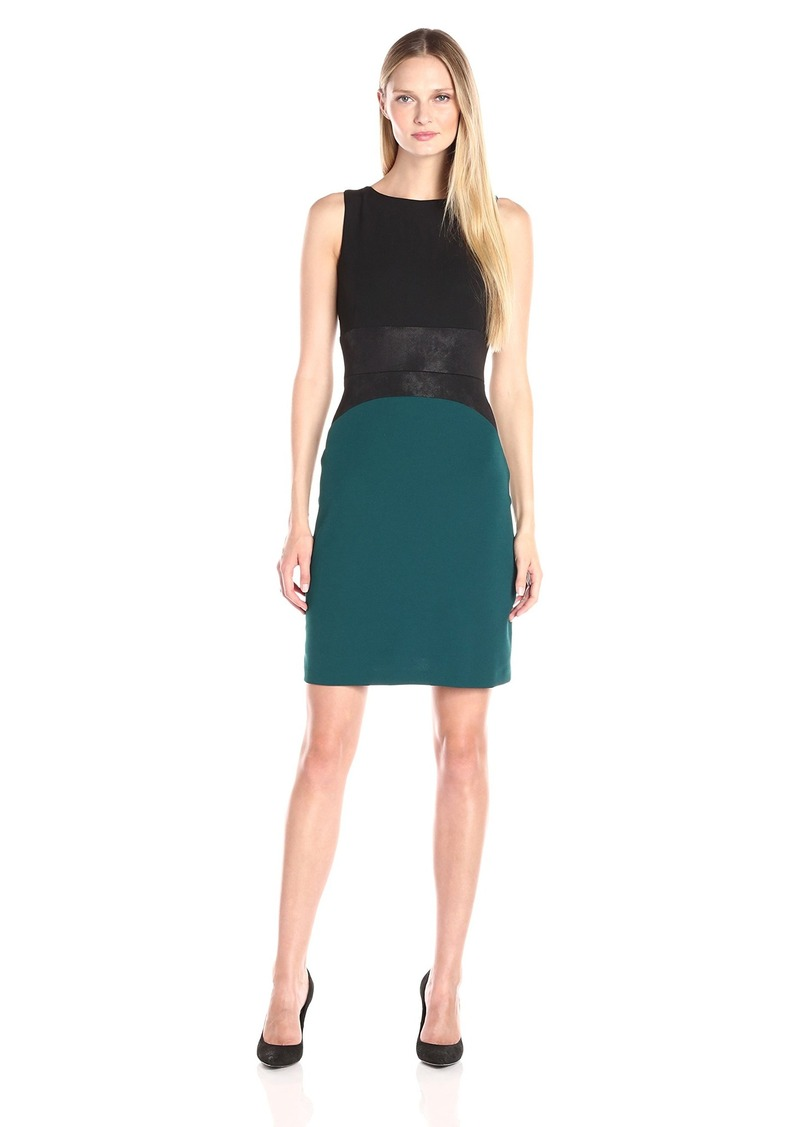 Donna Ricco Women's Sleeveless Color Block Scuba Crepe Sheath Dress