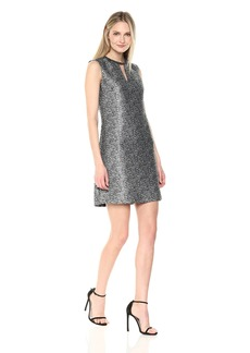 Donna Ricco Women's Sleeveless Dress with Key Hole and Necklace