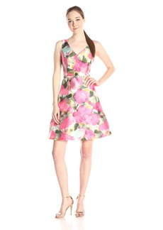 Donna Ricco Women's Sleeveless Floral Printed Fit and Flair Dress with Belt