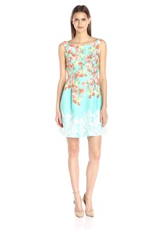 Donna Ricco Women's Sleeveless Floral Printed Fit and Flare Dress