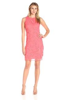 Donna Ricco Women's Sleeveless Floral Textured Sheath Dress