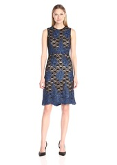 Donna Ricco Women's Sleeveless Lace Sheath Dress with Hem Detail