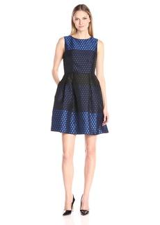 Donna Ricco Women's Sleeveless Polka Dot Fit and Flare Dress