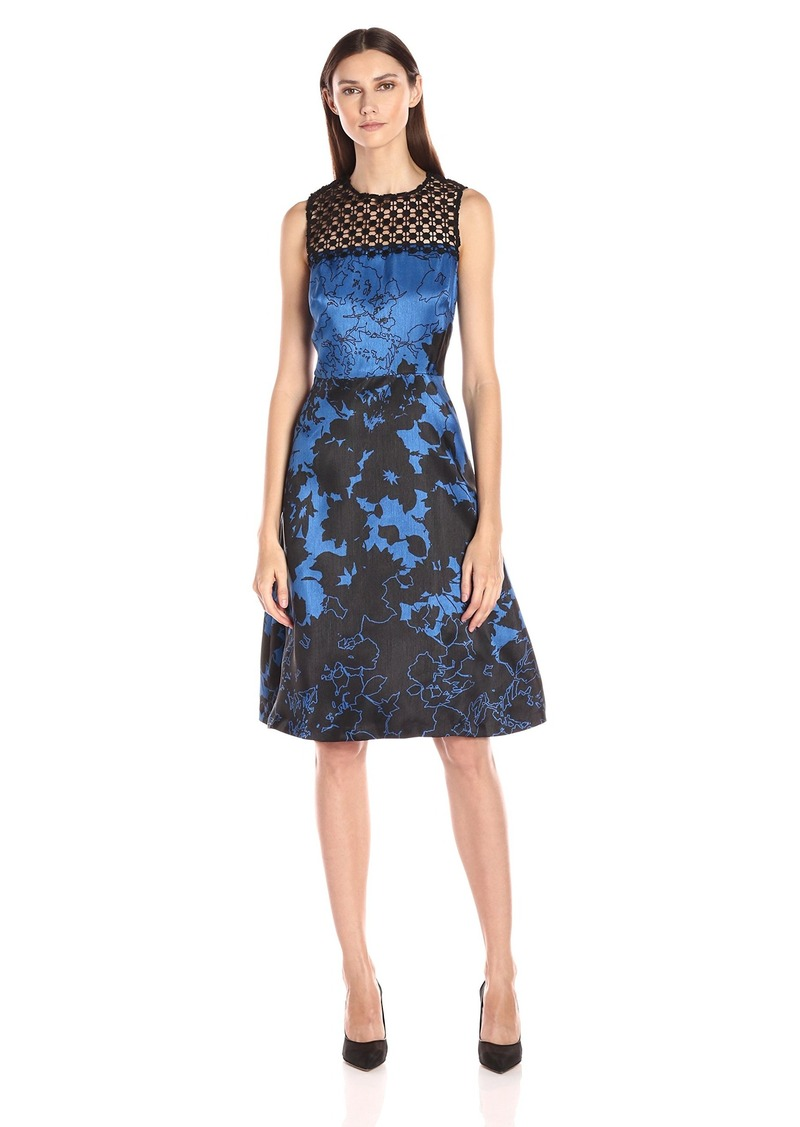 Donna Ricco Women's Sleeveless Printed A-Line Dress with Lace Detail
