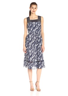 Donna Ricco Women's Sleeveless Printed Fit-and-Flare Dress with Lace On Bodice